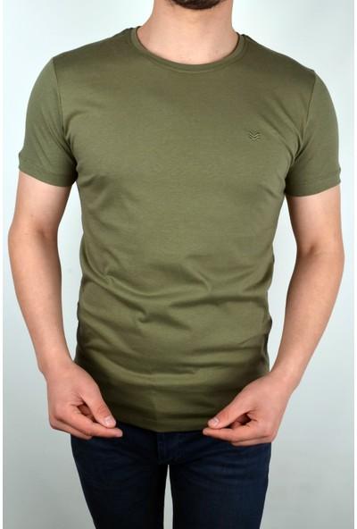 Markova Düz Pamuk Kumaş Yuvarlak Yaka Tshirt/haki Yeşil/s