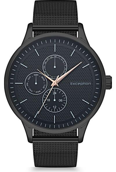 Exception Erkek Kol Saati Siyah Hasır Kordon Moda Şık EX606504