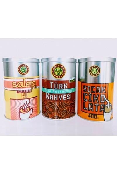 Kahve Dünyası 3'lü Kış Paketi (Salep 400 gr + Sıcak Çikolata 400 gr + Orta Kavrulmuş Türk Kahvesi 250 Gr)