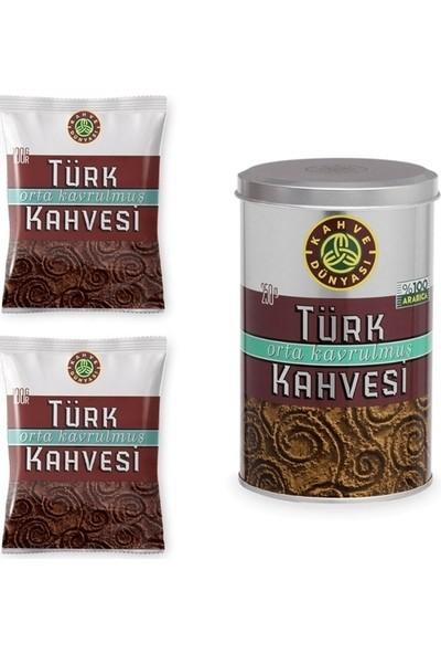 Kahve Dünyası Orta Kavrulmuş Türk Kahvesi 2 x 100 gr + Orta Kavrulmuş Türk Kahvesi 250 gr