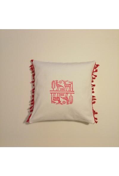 Heybelioda Beyaz Kanvas Hitit Desen El Boyama Püsküllü Dekoratif Kırlent