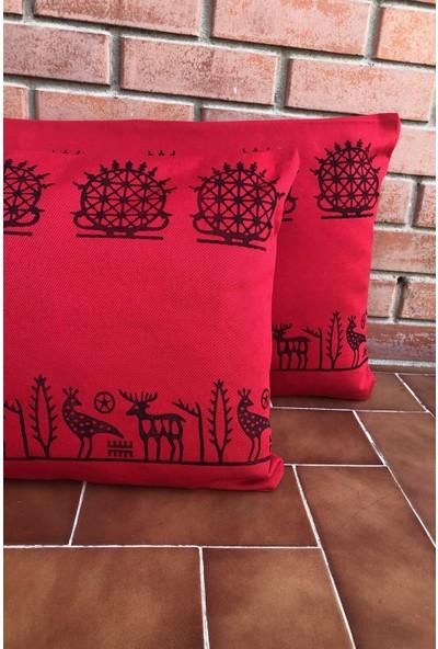 Heybelioda Kırmızı Keten Hitit Desen El Boyama Özel Tasarım Dekoratif Kırlent