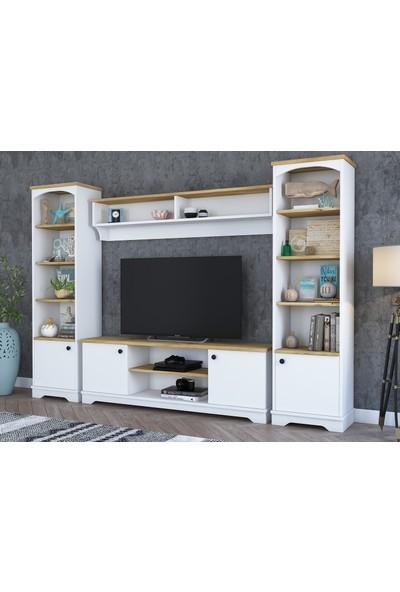 Rani D3 Duvar Raflı Kitaplıklı Country Tv Ünitesi Duvara Monte Dolaplı Tv Sehpası Beyaz Keçe Ceviz