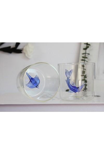 Adamodart Kılıç Balığı & Vatoz Figürlü 2'li Borosilikat Su Bardağı