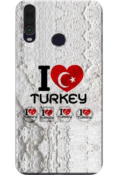 Kılıf Merkezi General Mobile Gm 10 Kılıf Desen Baskılı Silikon I Love Turkey 158