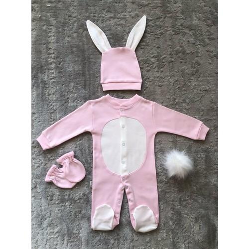İpeksi Baby Yenidoğan Bebek Tavşanlı Pembe Tulum Seti