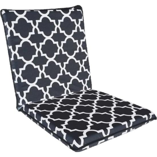 Cmkstore Sandalye Minderi Arkalıklı Büyük Fermuarlı Yıkanabilir Siyah