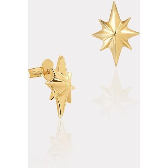 Atasay Sarı Altın Kutup Yıldızı Küpe