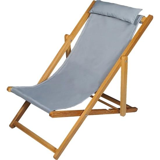 Bysay Ahşap Katlanabilir Taşınır Şezlong. Plaj, Bahçe, Teras, Balkon Şezlongu