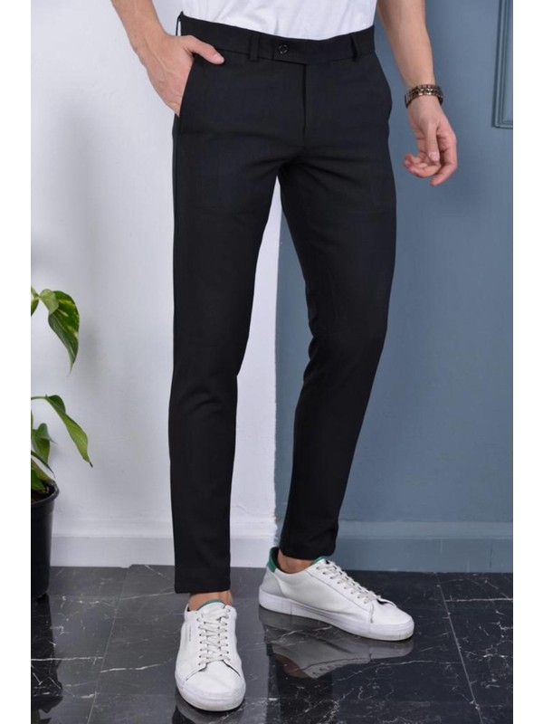 Gavazzi Erkek Siyah Italyan Kesim Slimfit Kumaş Pantolon