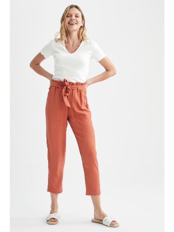 DeFacto Paper Bag Yüksek Bel Kuşaklı Pantolon