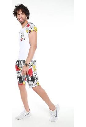 David&Gerenzo Beyaz/siyah Desenli Şort T-Shirt Takım