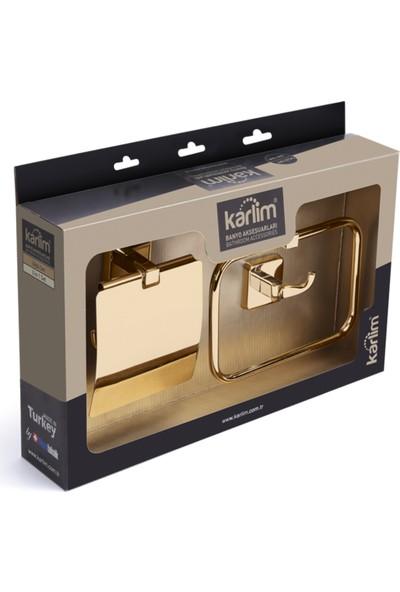 Milet Serisi Gold Renk 3'lü Banyo Aksesuar Seti