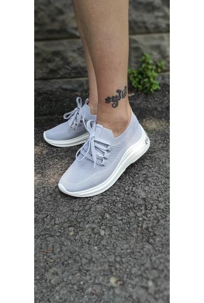 Masis Evans Gri Triko Taşlı Casual Spor Sneaker