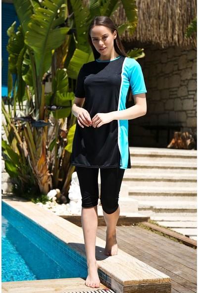 Riva Mera Tasarım Yarı Kapalı Taytlı Elbise Mayo Tesettür Mayo 2'li Set Rivamera Mayo 1904 Siyah