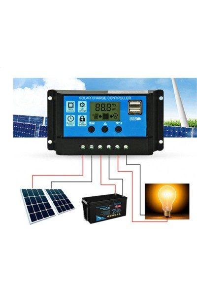 Spysoft 30A Güneş Solar Paneli Akü Şarj Solar Kontrol Cihazı 12V-24V Kontrol Cihazı Akü Şarj Regülatör