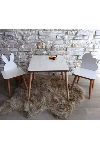 Go Baby Yaz Sil Model Tavşan & Bulut 2 Sandalyeli Masa