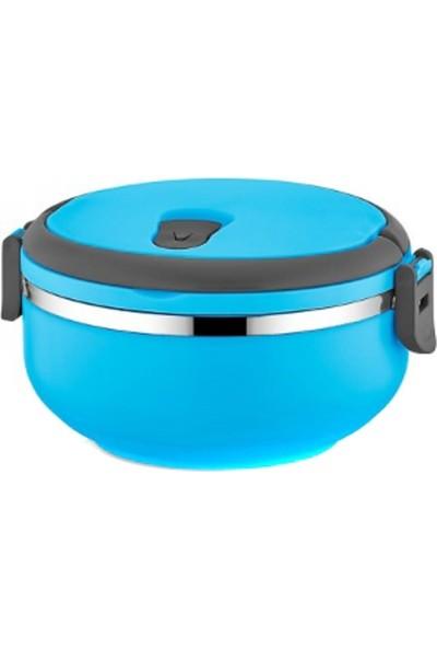 Hitfoni Tek Katlı Sızdırmaz Yemek Termosu Sefer Tası Saklama Kabı Mavi 0,75 Litre Mavi