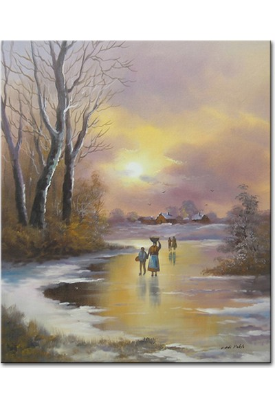 Tablo Plus Kış ve Donmuş Nehir Yağlı Boya Dokulu Tablo 60CM x 90CM