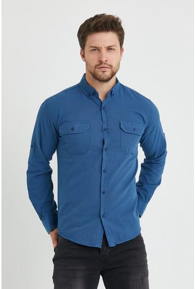 Serseri Jeans Erkek Lacivert Yaka Düğmeli Pamuklu Keten Görünümlü Uzun Kol Slim Fit Gömlek