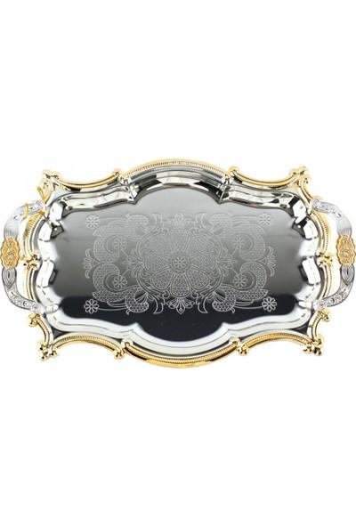 Entina Özler Çelik Desenli Aynalı Nişan Sunum Tepsisi