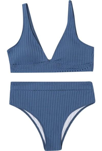 Generic Kadın Çizgili Push Up Yüksek Kesim Yüksek Bel Halter Bikini Takımı (Yurt Dışından)