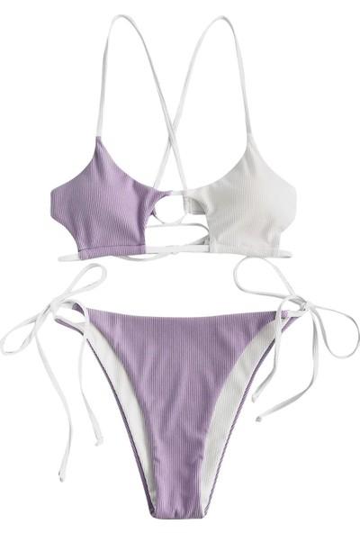 Generic Kadın Çizgili Push Up Yüksek Kesim Yüksek Bel Halter Bikini Seti 2 Parça Mayo (Yurt Dışından)