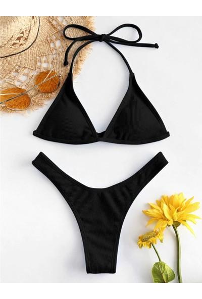 Generic Kadın Push Up Yüksek Kesim Bağcıklı Halter Bikini Takımı (Yurt Dışından)