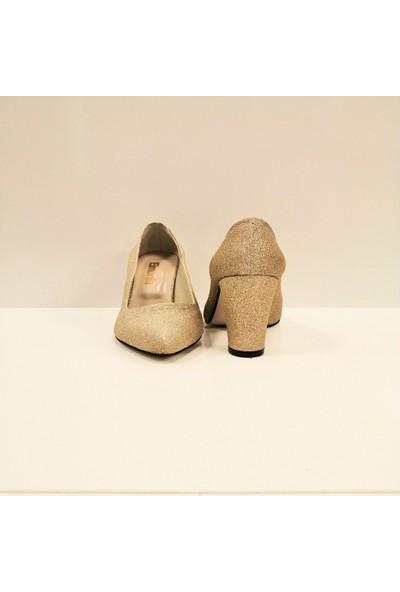 Elmonta Altın Sarı Simli Abiye Stiletto Ayakkabı
