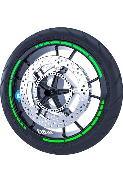 Çınar Extreme Floresan Yeşil Moto Gp Stili Jant Şeridi Sticker