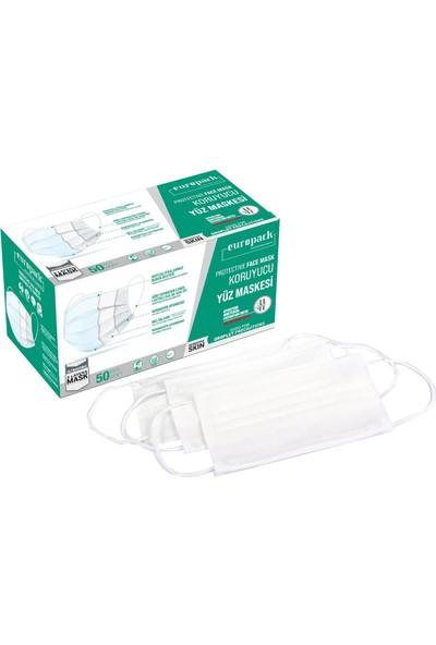 Europack Full Ultrasonik Meltblownlu Yüksek Koruyucu Maske 50 Adet Beyaz