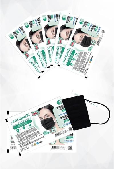 Europack Premium Tek Tek Paketli Full Ultrasonik Yüksek Koruyucu Maske 50 Adet Siyah