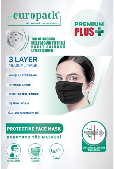 Europack Premium Tek Tek Paketli Full Ultrasonik Yüksek Koruyucu Maske 150 Adet Siyah