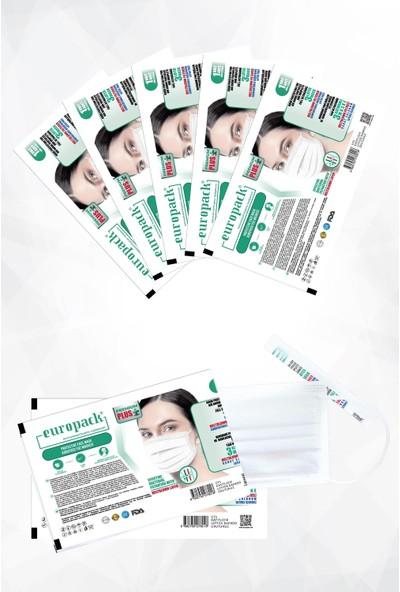 Europack Premium Tek Tek Paketli Full Ultrasonik Meltblownlu Yüksek Koruyucu Maske 300 Adet Beyaz