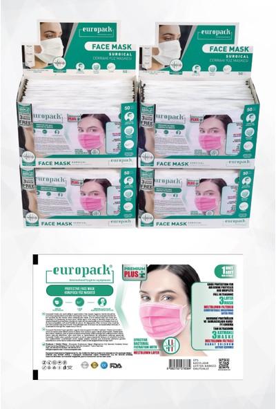 Europack Premium Tek Tek Paketli Full Ultrasonik Meltblownlu Yüksek Koruyucu Maske 200 Adet Pembe