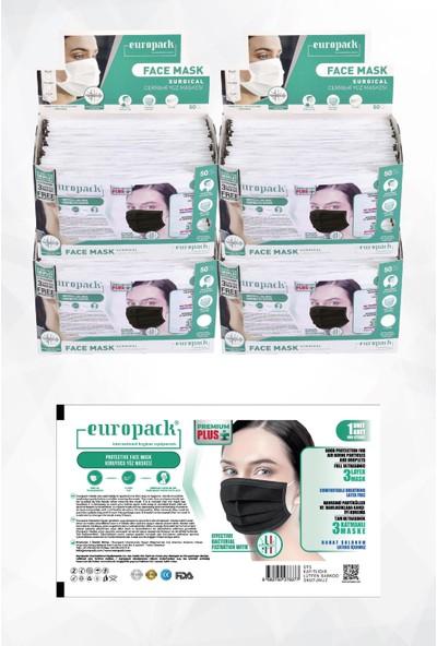 Europack Premium Tek Tek Paketli Full Ultrasonik Yüksek Koruyucu Maske 200 Adet Siyah