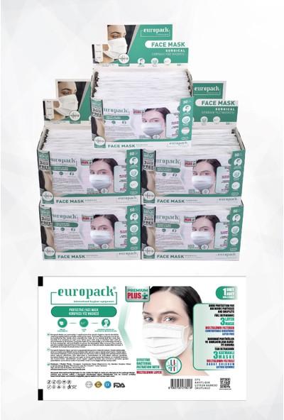 Europack Premium Tek Tek Paketli Full Ultrasonik Meltblownlu Yüksek Koruyucu Maske 250 Adet Beyaz