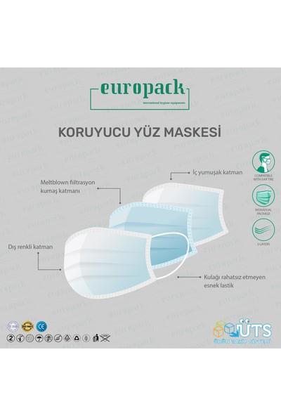 Europack Premium Tek Tek Paketli Full Ultrasonik Meltblownlu Yüksek Koruyucu Maske 150 Adet Beyaz