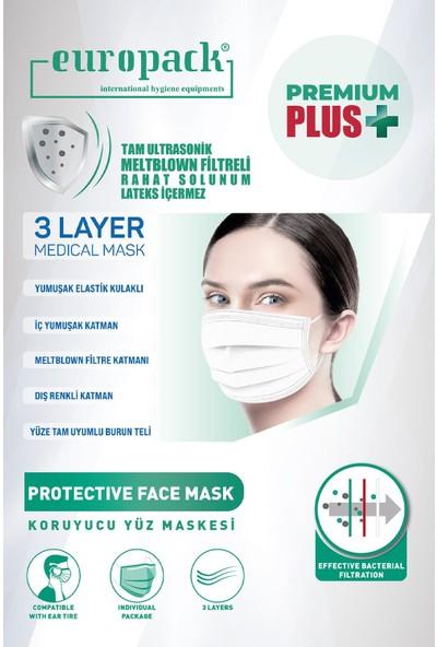 Europack Premium Tek Tek Paketli Full Ultrasonik Meltblownlu Yüksek Koruyucu Maske 100 Adet Beyaz + 5 Adet Maske Aparatı