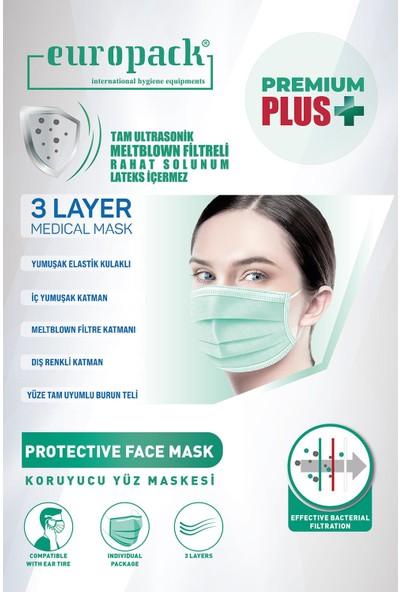 Europack Premium Tek Tek Paketli Full Ultrasonik Meltblownlu Yüksek Koruyucu Maske 50 Adet Pembe + 50 Adet Yeşil + 5 Adet Pembe Çocuk Maske
