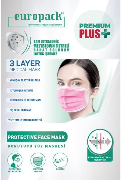 Europack Premium Tek Tek Paketli Full Ultrasonik Meltblownlu Yüksek Koruyucu Maske 50 Adet Pembe + 50 Adet Mavi + 5 Adet Pembe Çocuk Mas