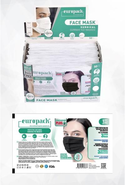 Europack Premium Tek Tek Paketli Full Ultrasonik Yüksek Koruyucu Maske 50 Adet Siyah + 5 Adet Maske Aparatı