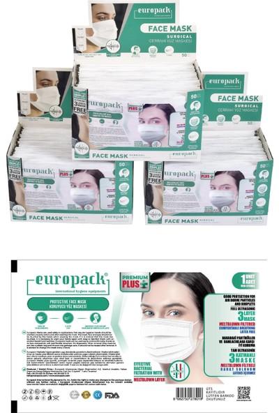 Europack Premium Tek Tek Paketli Full Ultrasonik Meltblownlu Yüksek Koruyucu Maske 150 Adet Beyaz + 10 Adet Maske Aparatı