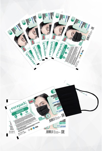 Europack Premium Tek Tek Paketli Full Ultrasonik Yüksek Koruyucu Maske 200 Adet Siyah + 10 Adet Maske Aparatı