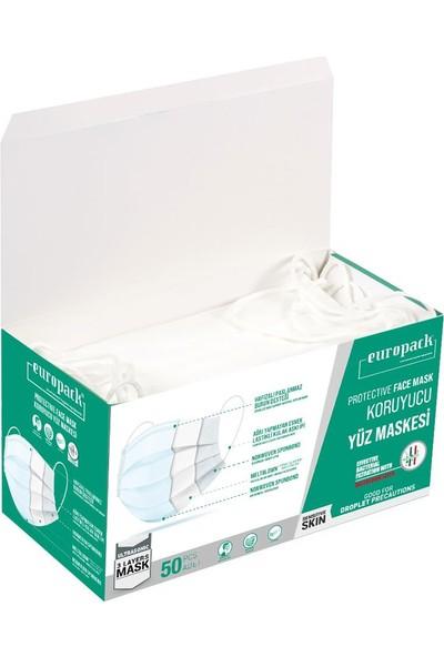 Europack Full Ultrasonik Meltblownlu Yüksek Koruyucu Maske 150 Adet Beyaz