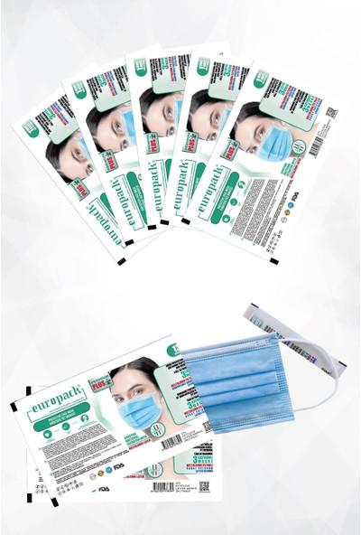 Europack Premium Tek Tek Paketli Full Ultrasonik Meltblownlu Yüksek Koruyucu Maske 200 Adet Mavi