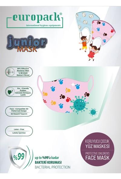 Europack Full Ultrasonik Meltblownlu Yüksek Koruyucu Çocuk Maskesi 5 Adet Pembe