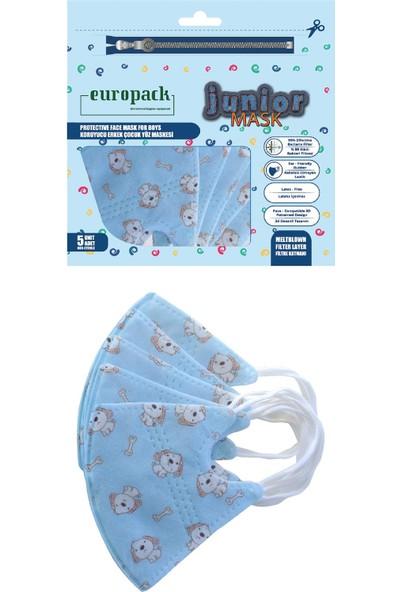 Europack Full Ultrasonik Meltblownlu Yüksek Koruyucu Çocuk Maskesi 5 Adet Mavi
