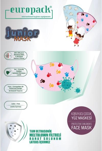 Europack Full Ultrasonik Meltblownlu Yüksek Koruyucu Çocuk Maskesi 25 Adet Pembe