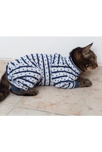 Stylie Uzun Kollu Kedi Ameliyat Sonrası Giysisi L Mavi